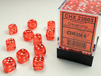 Chessex Dice - 12mm d6 - Translucent - Orange/White CHX23803