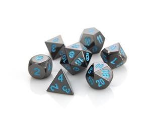 Die Hard Metal Dice - Polyhedral - Sinister Chrome/Blue
