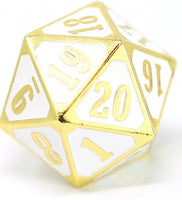 Die Hard Metal Dice - 25mm Spindown - Gothica Shiny Gold/White