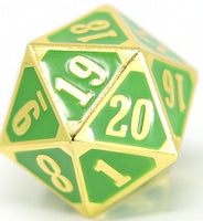 Die Hard Metal Dice - 25mm Spindown - Gothica Shiny Gold/Green