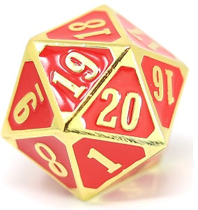 Die Hard Metal Dice - 25mm Spindown - Gothica Shiny Gold/Red