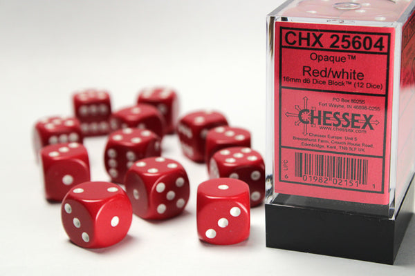 Chessex Dice - 16mm d6 - Opaque - Red/White CHX25604