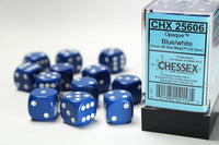 Chessex Dice - 16mm d6 - Opaque - Blue/White CHX25606