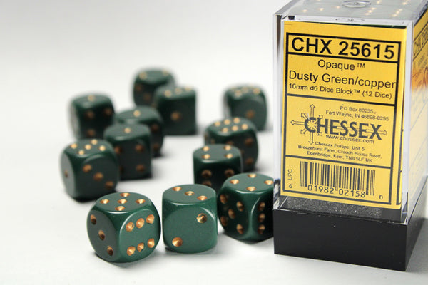 Chessex Dice - 16mm d6 - Opaque - Dusty Green/Gold CHX25615