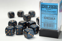 Chessex Dice - 16mm d6 - Opaque - Dusty Blue/Gold CHX25626