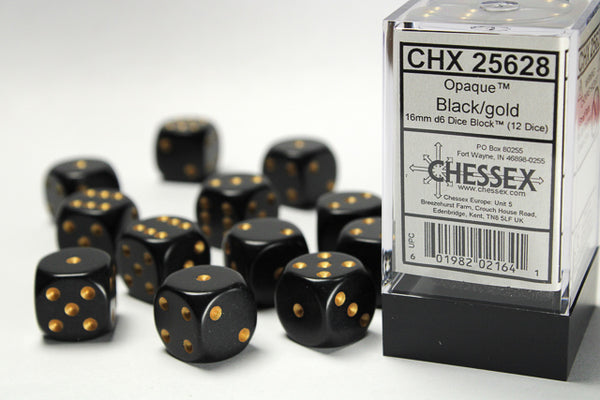 Chessex Dice - 16mm d6 - Opaque - Black w/Gold CHX25628
