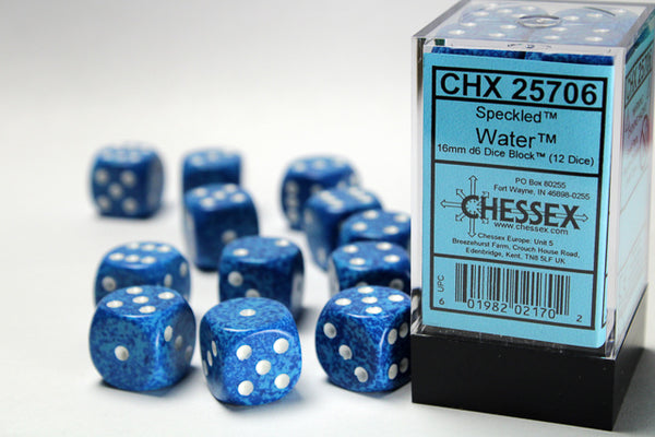 Chessex Dice - 16mm d6 - Speckled - Water CHX25706
