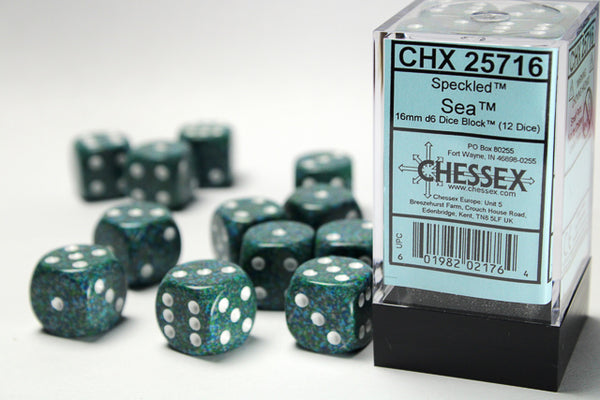 Chessex Dice - 16mm d6 - Speckled - Sea CHX25716