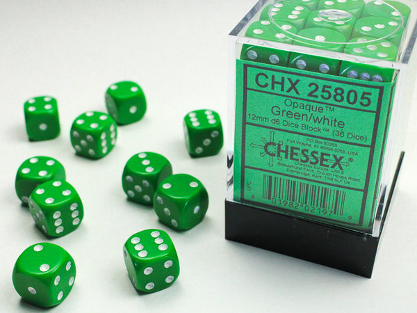 Chessex Dice - 12mm d6 - Opaque - Green/White CHX25805