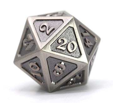 Die Hard Metal Dice - 25mm d20 - Mythica Battleworn Silver