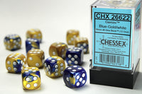 Chessex Dice - 16mm d6 - Gemini - Blue-Gold/White CHX26622