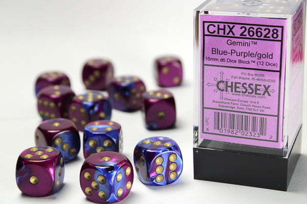 Chessex Dice - 16mm d6 - Gemini - Blue-Purple/Gold CHX26628