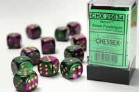 Chessex Dice - 16mm d6 - Gemini - Green-Purple/Gold CHX26634