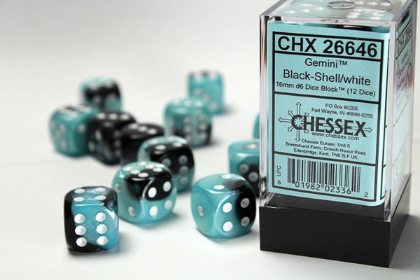 Chessex Dice - 16mm d6 - Gemini - Black-Shell/White CHX26646