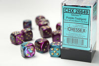 Chessex Dice - 16mm d6 - Gemini - Purple-Teal/Gold CHX26649