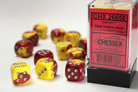Chessex Dice - 16mm d6 - Gemini - Red-Yellow/Silver CHX26650