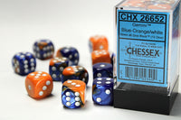 Chessex Dice - 16mm d6 - Gemini - Blue-Orange/White CHX26652