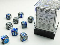 Chessex Dice - 12mm d6 - Gemini - Blue-Steel/White CHX26823