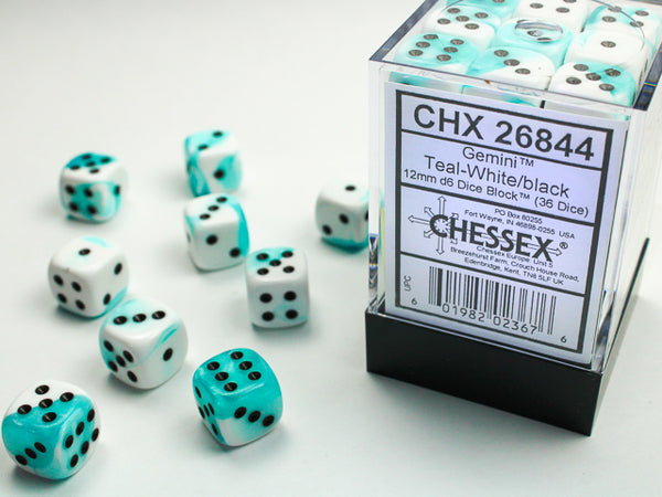 Chessex Dice - 16mm d6 - Gemini - Teal-White/Black CHX26844