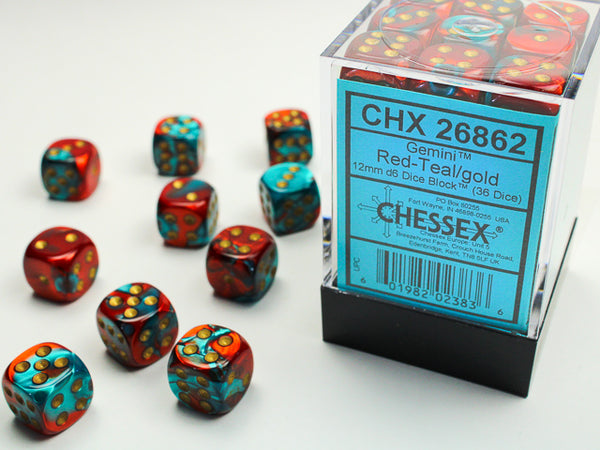 Chessex Dice - 12mm d6 - Gemini - Red-Teal/Gold CHX26862