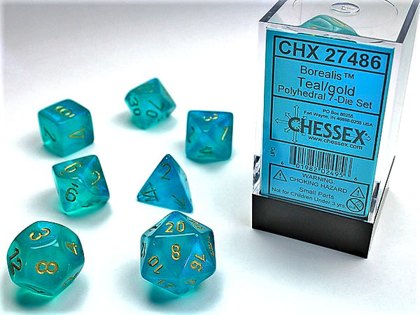 Chessex Dice - Polyhedral - Borealis - Teal w/Gold CHX27486