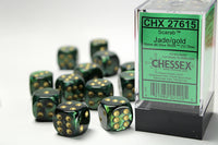 Chessex Dice - 16mm d6 - Scarab - Jade/Gold CHX27615