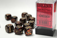 Chessex Dice - 16mm d6 - Scarab - Blue Blood/Gold CHX27619