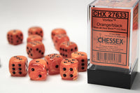 Chessex Dice - 16mm d6 - Vortex - Orange/Black CHX27633