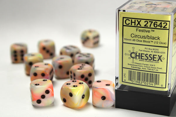 Chessex Dice - 16mm d6 - Festive - Circus/Black CHX27642