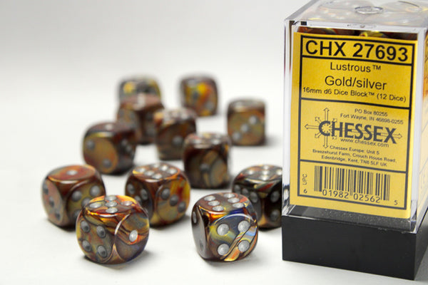 Chessex Dice - 16mm d6 - Lustrous - Gold/Silver CHX27693