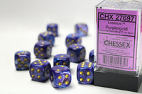 Chessex Dice - 16mm d6 - Lustrous - Purple/Gold CHX27697
