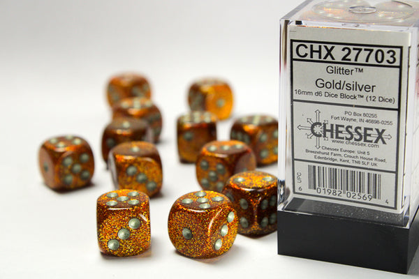Chessex Dice - 16mm d6 - Glitter - Gold/Silver CHX27703