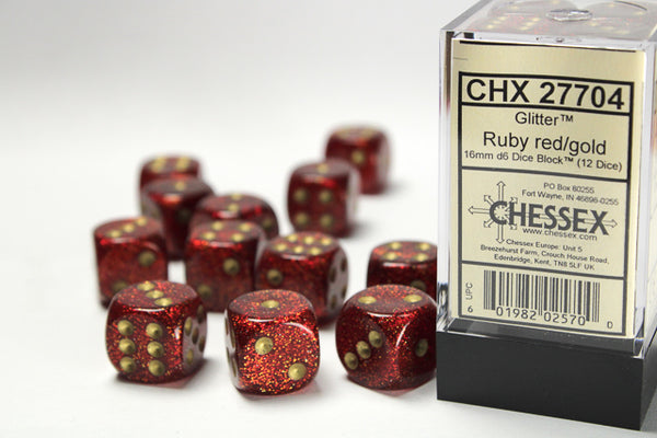 Chessex Dice - 16mm d6 - Scarab - Ruby/Gold CHX27704