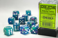 Chessex Dice - 16mm d6 - Festive - Waterlily/White CHX27746