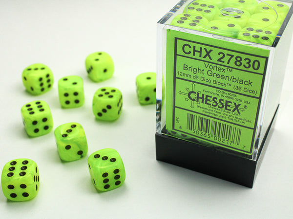Chessex Dice - 12mm d6 - Vortex - Bright Green/Black CHX27830