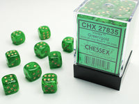 Chessex Dice - 12mm d6 - Vortex - Green/Gold CHX27835