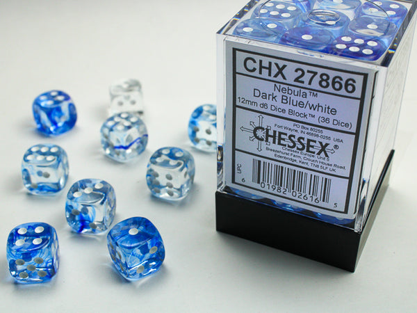 Chessex Dice - 12mm d6 - Nebula - Dark Blue/White CHX27866