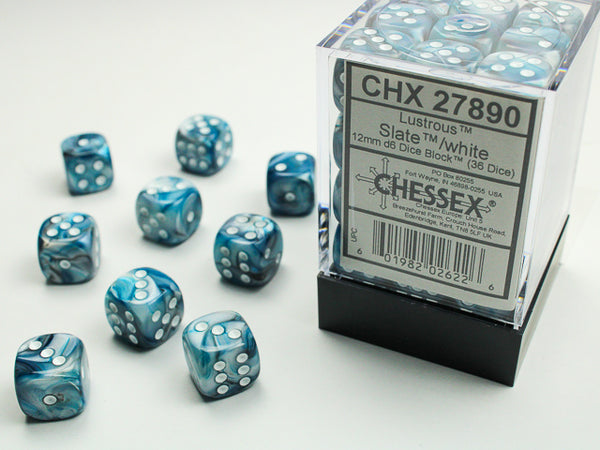 Chessex Dice - 12mm d6 - Lustrous - Slate/White CHX27890