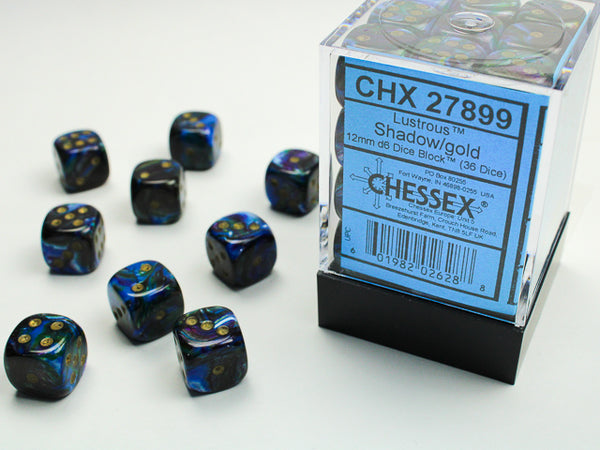 Chessex Dice - 12mm d6 - Lustrous - Shadow/Gold CHX27899