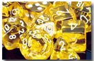 Chessex Dice - Polyhedral - Translucent - Yellow w/White CHX23072 CHX23002