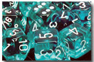 Chessex Dice - Polyhedral - Translucent - Teal w/White CHX23085 CHX23015