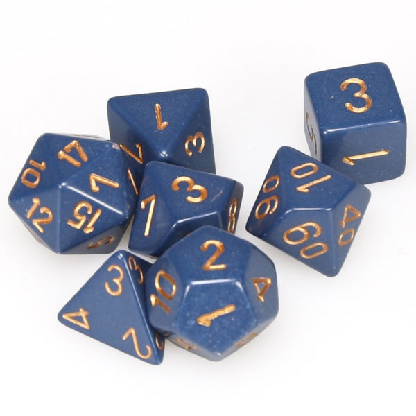 Chessex Dice - Polyhedral - Opaque - Dusty Blue w/Gold CHX25426