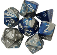 Chessex Dice - Polyhedral - Gemini - Blue-Steel w/White CHX26423