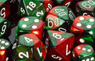 Chessex Dice - Polyhedral - Gemini - Green-Red w/White CHX26431