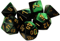 Chessex Dice - Polyhedral - Gemini - Black-Green w/Gold CHX26439