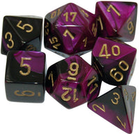 Chessex Dice - Polyhedral - Gemini - Black-Purple w/Gold CHX26440