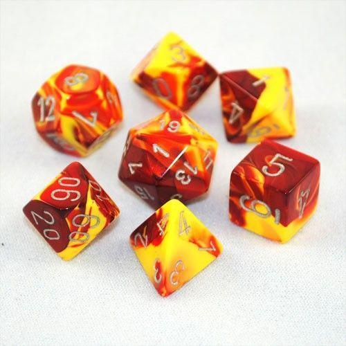 Chessex Dice - Polyhedral - Gemini - Red-Yellow w/Silver CHX26450