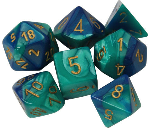 Chessex Dice - Polyhedral - Gemini - Blue-Teal w/Gold CHX26459