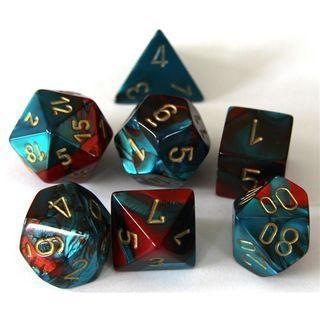 Chessex Dice - Polyhedral - Gemini - Red-Teal w/Gold CHX26462