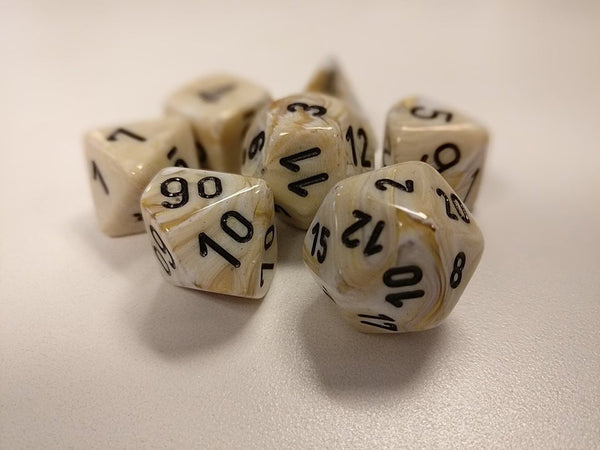 Chessex Dice - Polyhedral - Marble - Ivory w/Black CHX27402